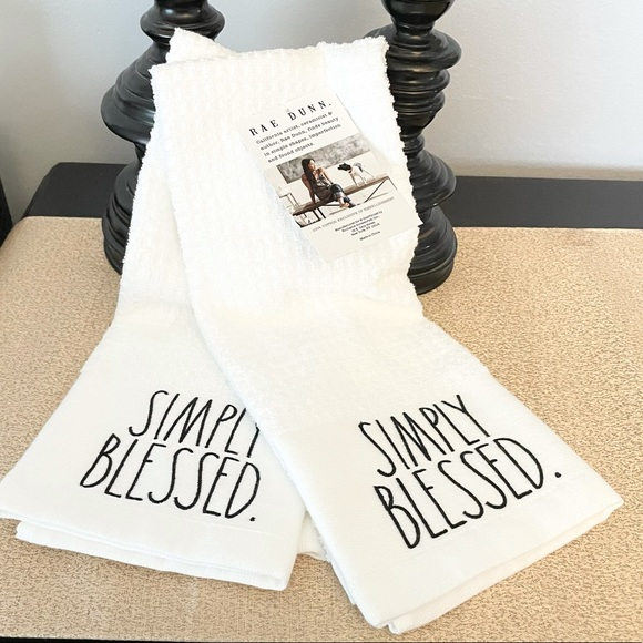 🆕Rae Dunn Set of 2 SIMPY BLESSED Kitchen Towels